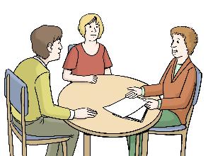 Tisch mit drei Menschen